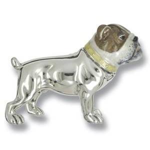 Zierfigur Bulldogge, Hund in echt Sterling-Silber 925 emailliert, Standmodell