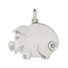 Anhänger Schwein flach, gebürstet in echt Sterling-Silber 925 oder Gold, Ketten- oder Schlüssel-Anhänger