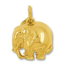 Anhänger Elefant in echt Gelbgold, Charm, Kettenanhänger oder Bettelarmband-Anhänger , hohl