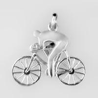 Anhänger Rennradfahrer in echt Sterling-Silber 925 oder Gold, Ketten- oder Schlüssel-Anhänger