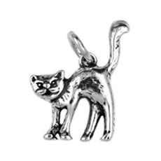 Anhänger Katze in echt Sterling-Silber 925 oder Gold, Charm, Ketten- oder Bettelarmband-Anhänger