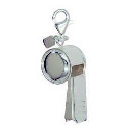 Anhänger Triller-, Schiedsrichterpfeife in echt Sterling-Silber 925 mit Karabiner, hochwertiger Ketten- oder Schlüssel-Anhänger