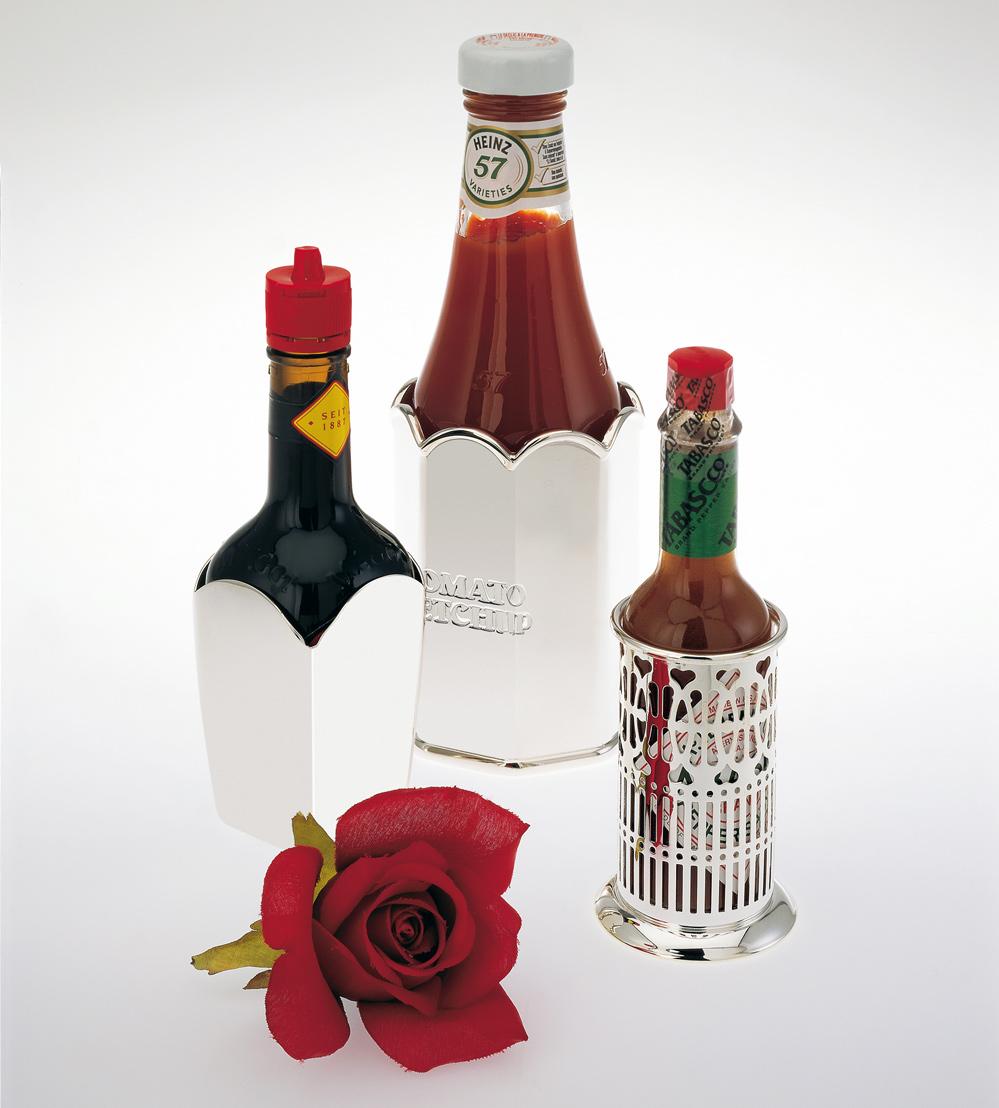 Gewürzsaucen-Fläschchenständer versilbert Gewürzsaucenfläschchenständer versilbert für Ketchup-, Tabasco-, Maggi-, Soja-, Worcester-Saucen