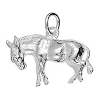 Anhänger Esel in echt Sterling-Silber weiß oder Gelbgold, Kettenanhänger oder Schlüssel-Anhänger