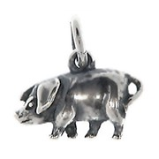 Anhänger Schwein mit Karabinerverschluß aus 925 Sterling Silber Charm