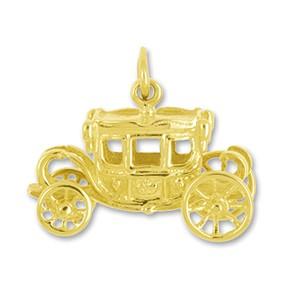 Anhänger Königliche Kutsche, Staatswagen, Berline in echt Sterling-Silber 925 oder Gold, Ketten- oder Schlüssel-Anhänger