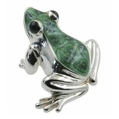 Zierfigur Frosch in echt Sterling-Silber 925 teilemailliert, Standmodell