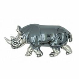 Zierfigur Nashorn, Rhinozeros, Rhinoceros in echt Sterling-Silber 925, Standmodell