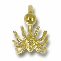 Bauchnabel-Piercing Spinne in echt Gelbgold 750