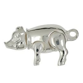 Anhänger Schwein beweglich in echt Sterling-Silber 925, Ketten- oder Schlüssel-Anhänger