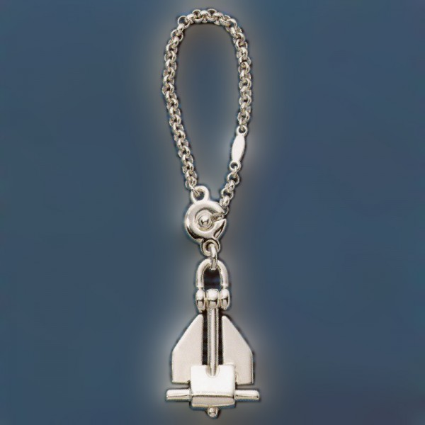 Schlüsselanhänger Danforth-Anker, Plattenanker mit Kette in echt Sterling-Silber 925