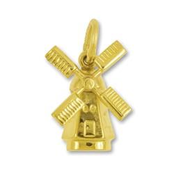 Anhänger Windmühle in Gelbgold, Charm, Ketten- oder Bettelarmband-Anhänger