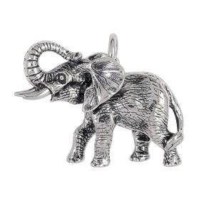 Anhänger Afrikanischer Elefant in echt Sterling-Silber oder Gelbgold, Kettenanhänger oder Schlüssel-Anhänger