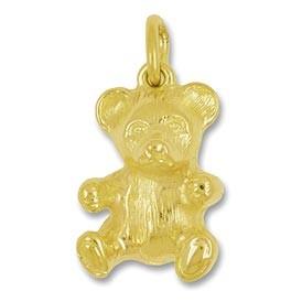 Anhänger Teddybär in echt Gold, Charm, Ketten- oder Bettelarmband-Anhänger