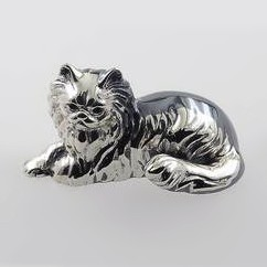 Zierfigur Perserkatze in echt Sterling-Silber 925, Standmodell