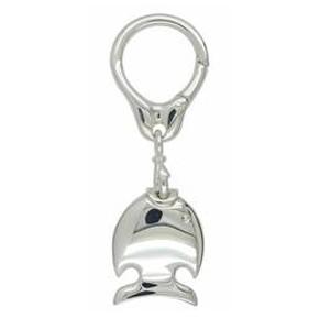 Schlüsselanhänger Fisch in echt Sterling-Silber weiß inklusive Kette und Schlüsselring