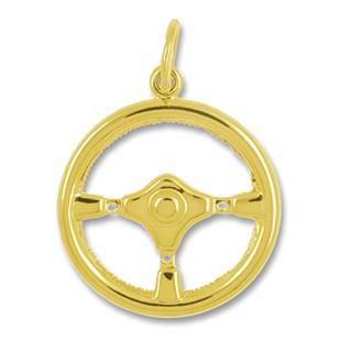 Anhänger Sportlenkrad in echt Sterling-Silber 925 oder Gelbgold, Charm, Ketten- oder Bettelarmband-Anhänger