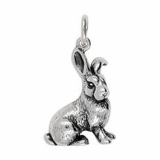 Anhänger Chinesischer Hase, Tierkreiszeichen in echt Sterling-Silber 925 oder Gelbgold, Ketten- oder Schlüssel-Anhänger