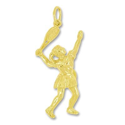 Anhänger Tennisspielerin in echt Sterling-Silber 925 oder Gold, Ketten- oder Schlüssel-Anhänger