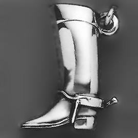 Anhänger Reitstiefel mit Sporn in echt Sterling-Silber 925, Ketten- oder Schlüssel-Anhänger
