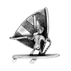 Anhänger Windsurfen, Charms in Silber und Gold