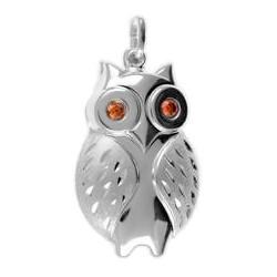 Anhänger Eule in echt Sterling-Silber 925 mit orangenen Zirkoniasteinen in den Augen, Charm, Ketten- oder Bettelarmband-Anhänger