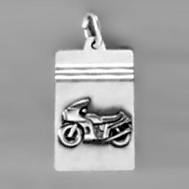 Anhänger Motorrad, Plättchen in echt Sterling-Silber 925 und Gold, Ketten- oder Schlüssel-Anhänger