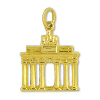 Anhänger Brandenburger Tor in echt Gold, Charm, Ketten- oder Bettelarmband-Anhänger