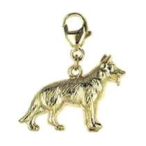 Anhänger Schäferhund in echt Gelbgold 333, Charm mit Karabiner, hochwertiger Ketten- oder Bettelarmband-Ein-/Anhänger