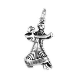 Anhänger Tanzpaar in echt Sterling-Silber 925, Ketten- oder Bettelarmband-Anhänger