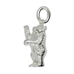 Anhänger Bär in echt Sterling-Silber 925, Charm, Kettenanhänger oder Bettelarmband-Anhänger