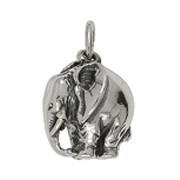 Anhänger Elefant in echt Sterling-Silber 925 weiß oder Gelbgold 333, Charm, Kettenanhänger oder Bettelarmband-Anhänger