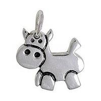 Anhänger Kuh in echt Sterling-Silber 925, Charm, Ketten- oder Bettelarmband-Anhänger