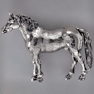 Zierfigur Pferd in echt Sterling-Silber 925 oder Gelbgold, Standmodell