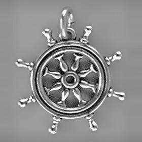 Anhänger Steuerrad, Ruder in echt Sterling-Silber 925 und Gold, Ketten- oder Schlüssel-Anhänger