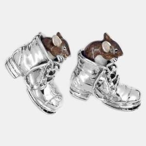 Zierfigur Mäuse in Schuhen in echt Sterling-Silber 925 emailliert, Standmodell