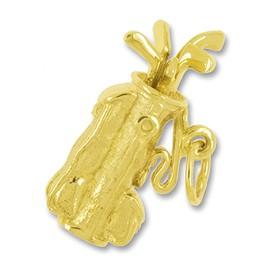 Anhänger Golftasche, Golfbag, Golfsack in echt Gold, Charm, Ketten- oder Bettelarmband-Anhänger