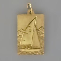 Anhänger Seegelboot, Jolle, Plättchen in echt Sterling-Silber 925 und Gold, Ketten- oder Schlüssel-Anhänger