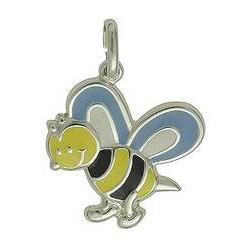 Anhänger Bienchen in echt Sterling-Silber 925 lackiert, Charm, hochwertiger Ketten- oder Bettelarmband-Ein-/Anhänger