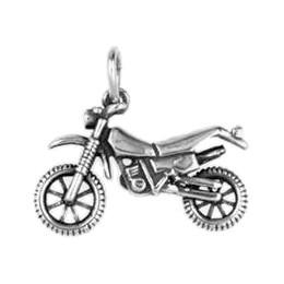 Anhänger Motocross-Motorrad in echt Sterling-Silber 925 oder Gold, Charm, Ketten- oder Bettelarmband-Anhänger