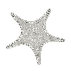 Kettenanhänger oder Brosche Seestern in echt Weißgold 585 mit Diamanten