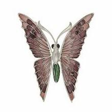 Anhänger / Brosche Schmetterling, Falter in echt Sterling-Silber 925 emailliert, Ketten- oder Schlüssel-Anhänger