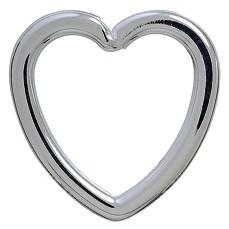Spaltring-Herz-Karabiner, Schlüsselring, Schlüsselmechanik in echt Silber 925/000 für Anhänger.