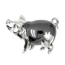 Zierfigur Schwein in echt Sterling-Silber 925, Standmodell
