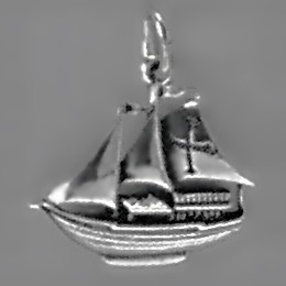 Anhänger Segelschiff, Karavelle in echt Sterling-Silber 925 oder Gold, Charm, Ketten- oder Bettelarmband-Anhänger