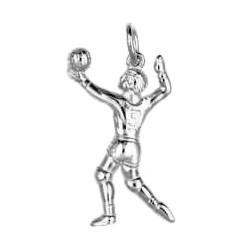 Anhänger Volleyballspieler in echt Sterling-Silber 925 und Gold, Ketten- oder Schlüssel-Anhänger