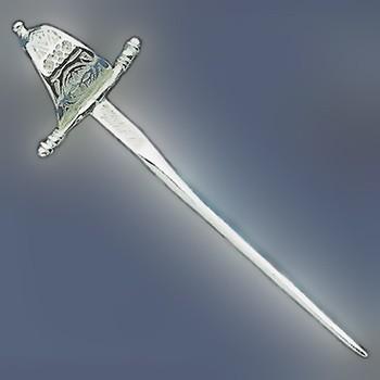 Anhänger Degen, Schwert in echt Sterling-Silber 925 und Gold, Ketten- oder Schlüssel-Anhänger