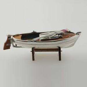 Zierfigur Ruderboot in echt Sterling-Silber 925 mit Holz, Miniatur, Standmodell