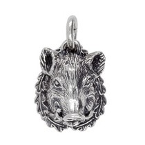 Anhänger Wildschweinkopf in echt Sterling-Silber 925 oder Gold, Ketten- oder Schlüssel-Anhänger
