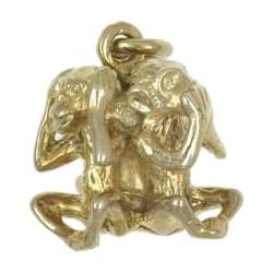 Anhänger 3 Affen, Nichts sehen, nichts hören & nichts sagen, Minai, Kikanai, Iwanai, Charm in echt Silber 925 oder Gelbgold 333, 585 / 750
